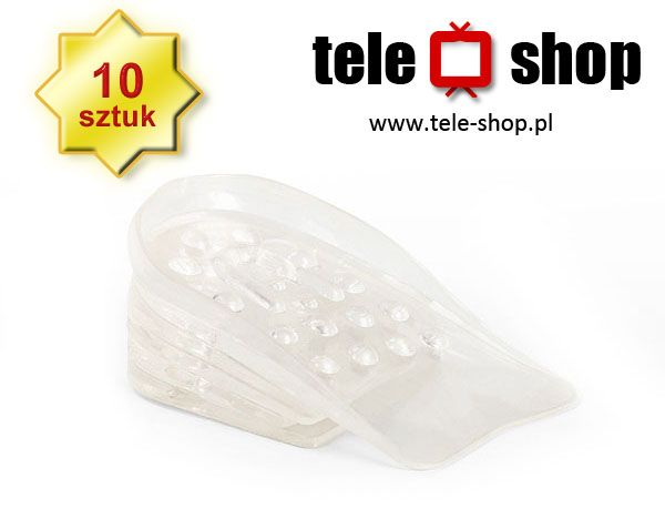 http://tele-shop.pl/  Podwyższa o ok. 4 cm !!! Zestaw zawiera 10 wkładek na obie stopy. Rozmiar pojedynczej wkładki: 4-6 mm.