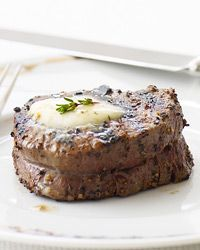 Peppered Beef Tenderloin with Roasted Garlic-Herb Butter Recipe on Food & Wine