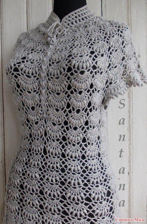crochelinhasagulhas: Vestido cinza de crochê                                                                                                                                                     Mais