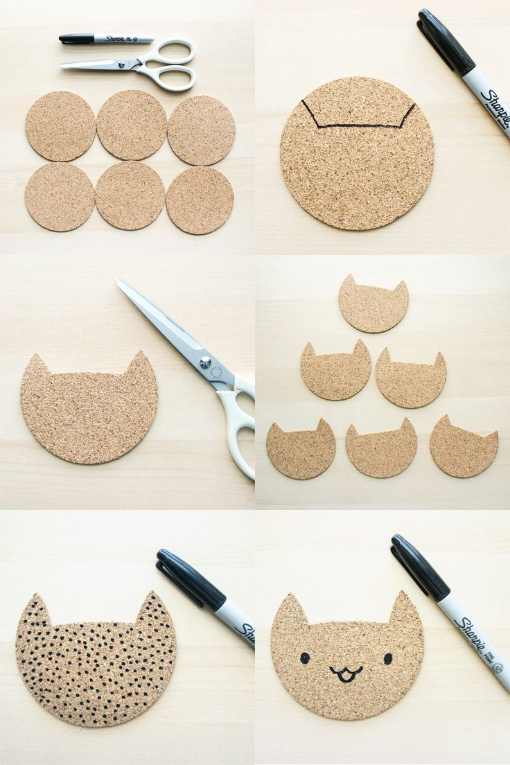 DIY Cork Cat Coasters by The Pink Samurai • #feastivities