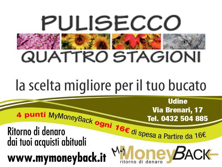 Pulisecco Quattro Stagioni offre servizi di pulitura e lavanderia per tutti i tipi di capi d'abbigliamento, tappeti, pellame, e tendaggi.  Grazie a MyMoneyBack hai 4 punti MyMoneyBack ogni 16 € di spesa a partire da 16 € di acquisti!! Pulisci i tuoi capi guadagnando punti da cambiare in denaro contante!  #MyMoneyBack
