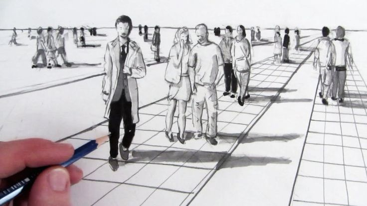 Learn How to Draw People in Perspective in this narrated pencil drawing. SUBSCRIBE: http://www.youtube.com/user/circlelinemedia for new How to Draw videos ev...
