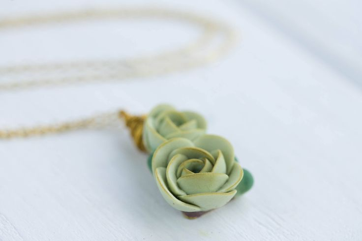 Green Blue Succulent Pendant Necklace Wholesale Succulent Plants Metal Basis Pendant Jewelry Succulent Wedding Bridal Birthday Gift by EtenIren on Etsy