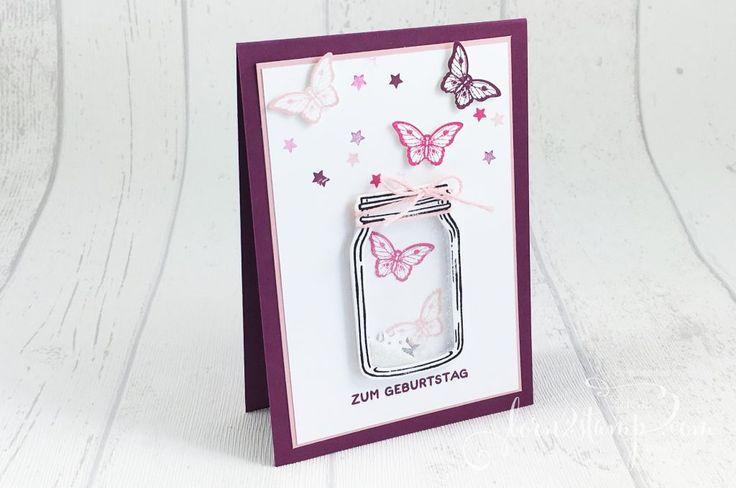 born2stamp STAMPIN' UP! Geburtstagskarte Glasklare Gruesse - Papillon Potpourri - Bannerweise Gruesse