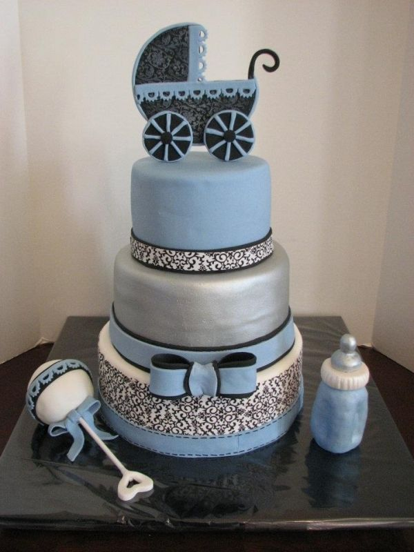 baby shower cake. Love it, and all you have do is change all the blue to pink for a girl!
