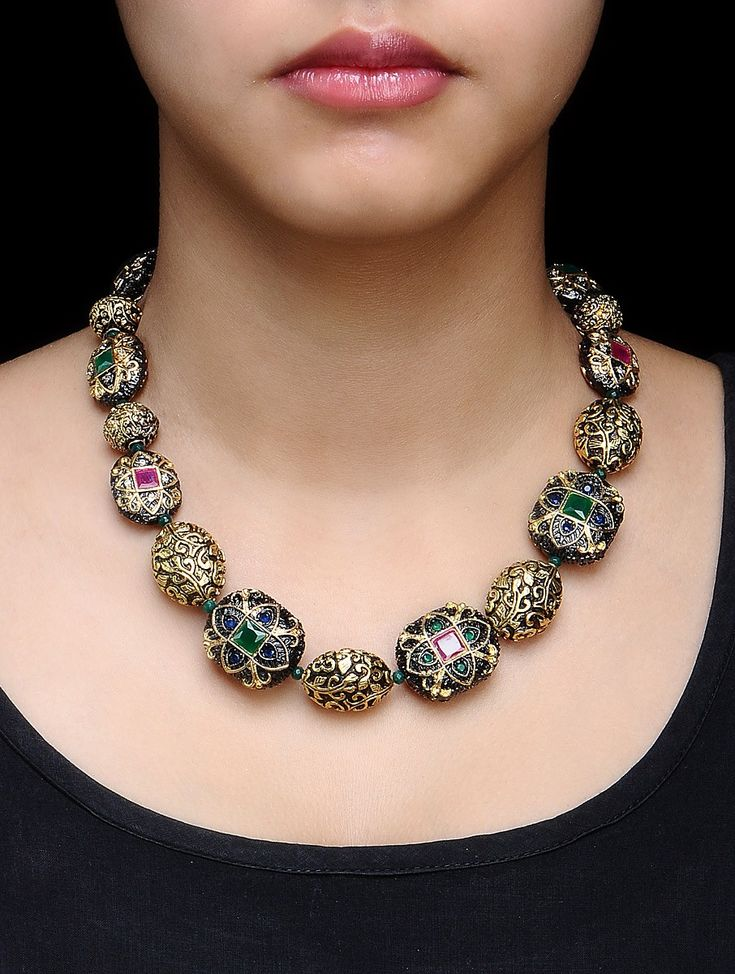 Buy Golden Black Green Carved Metal Beads Kundan Work Necklace Alloy Semi Precious Stone Jewelry Fashion Online at Jaypore.com