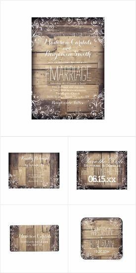 Rustic Country Wood Flourish Wedding Invite Set