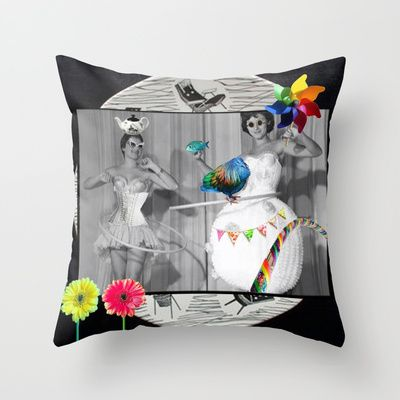 Hooping Homemakers with a blue fish (and other things) Throw Pillow by mentalembellisher - $20.00