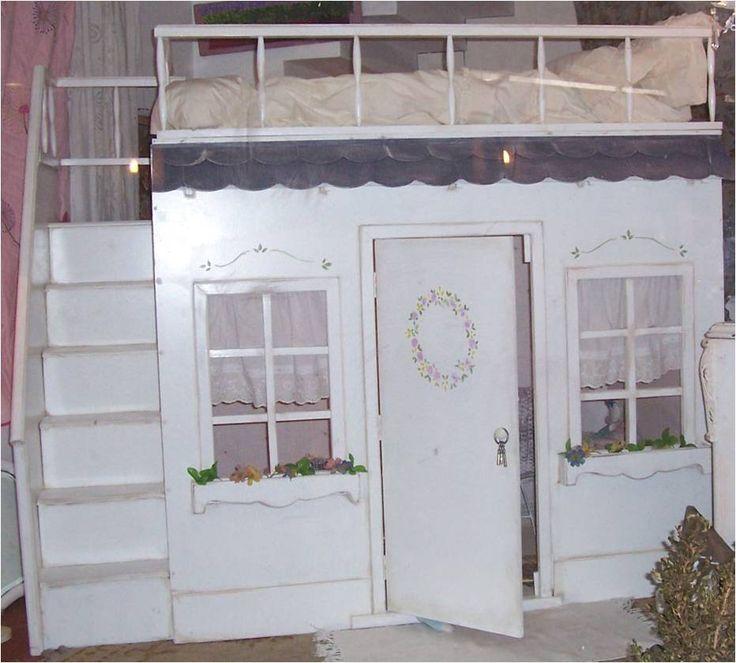 Cucheta de ni a con casita de juegos debajo camas 1 for Cama con cama debajo
