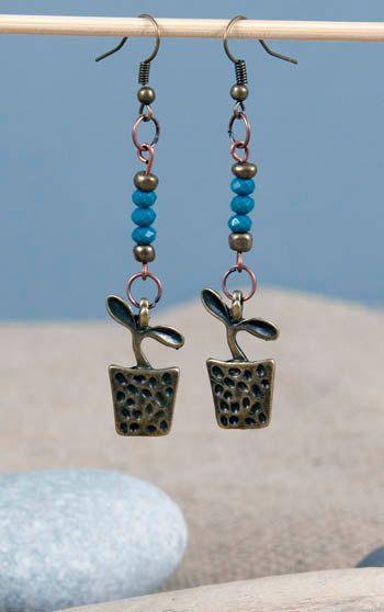 flower pot  blue beads brass earrings NX_5594