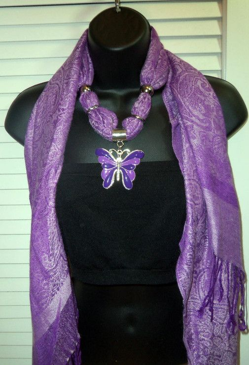 Beautiful Purple Scarf with Butterfly Scarf Jewelry by David Wood Designs