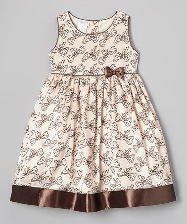 Take a look at this Pink & Brown Bow Elizabeth Dress - Infant, Toddler & Girls by SAMSofia on #zulily today!