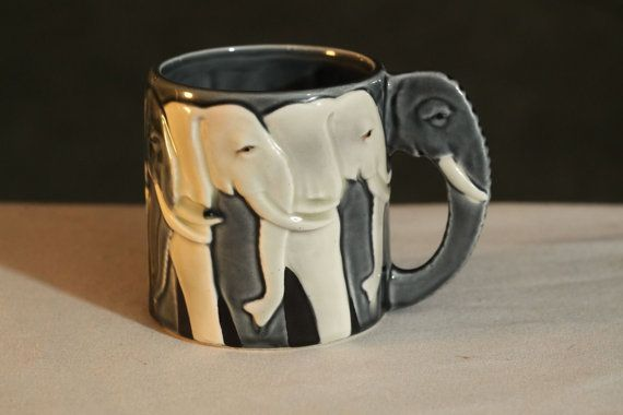 Vintage Elephant Mug Tom Taylor Designed Handpainted in Vintage Blue Grey Otagiri - Super Cute and Super Cool!