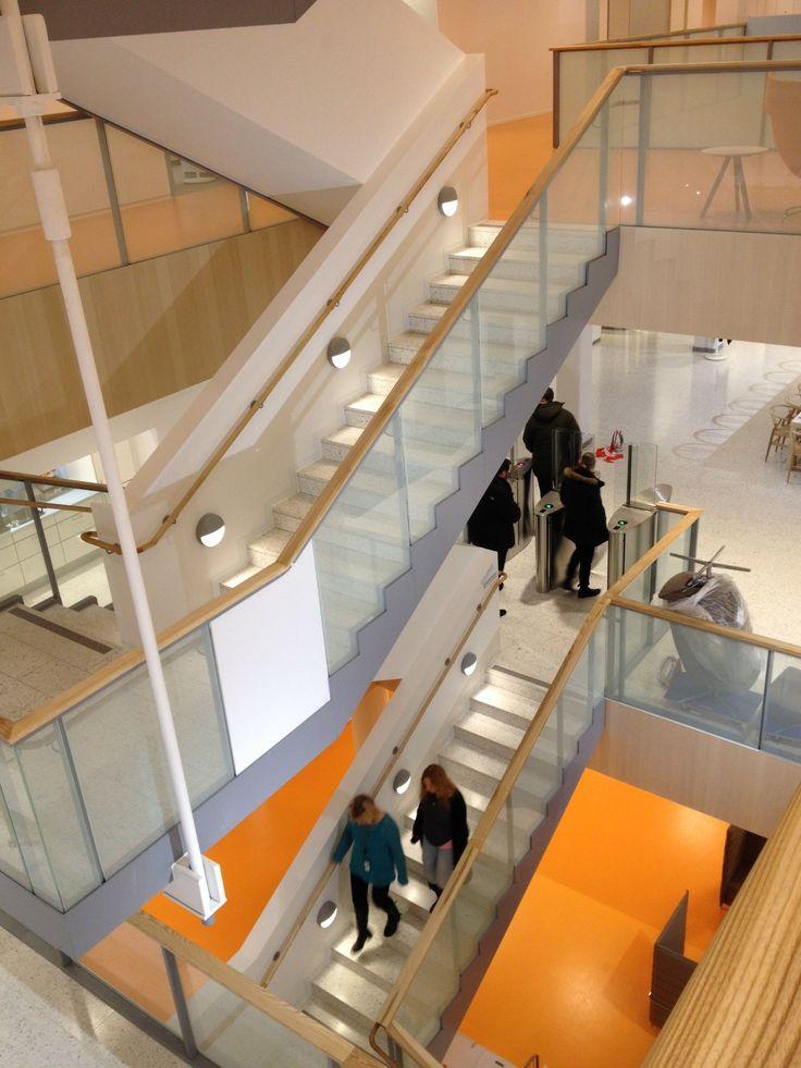 Skanska's new HQ in Stockholm: bright orange floor Picture: Skanska Kodit