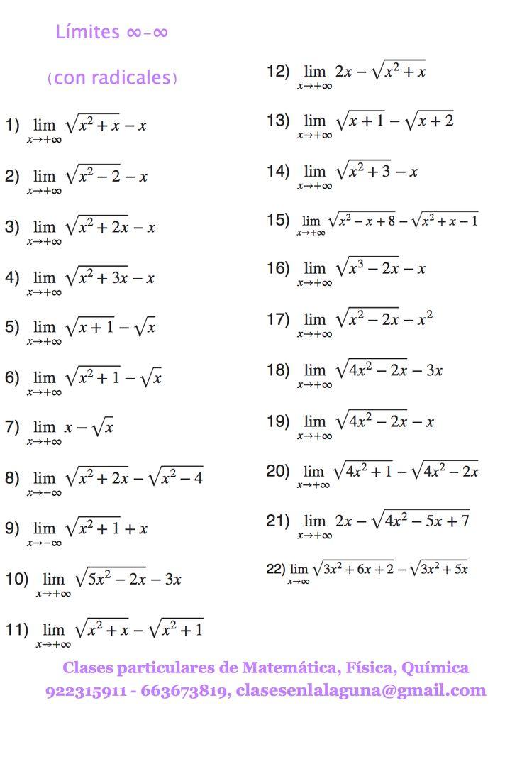 Ejercicios de Límites, Indeterminación infinito menos infinito (con radicales) | Límites de ...