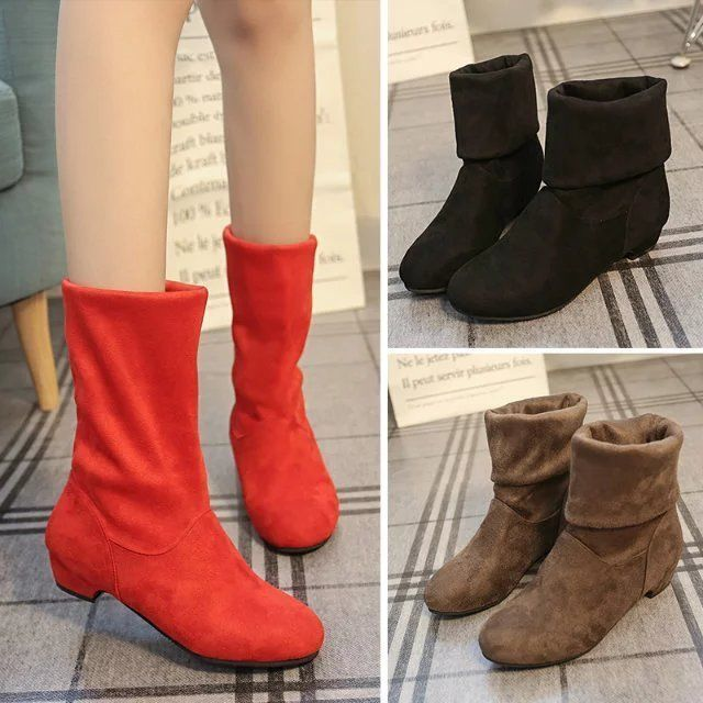 Women's Stylish Faux Suede Pull On Round Toe Low Wedge Heels Mid Calf Boots