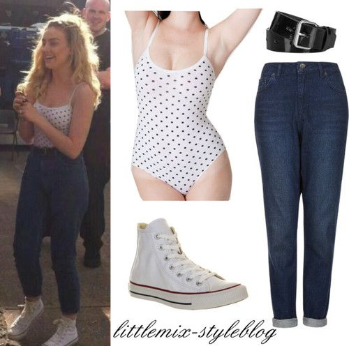 Perrie in Newcastle- May 17, 2014 AA Polka Dot Spandex Bodysuit: $28 Topshop Indigo High Waisted Jeans: $70 Topshop Patent Belt: sold out White Converse: $105