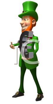 iCLIPART - Royalty Free 3d Clipart Image of a Leprechaun Holding a Large Euro Sign