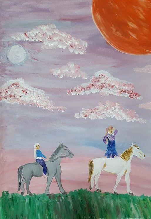 2016 art comp 28 'Elves on horseback' by Nita Thomas, adult #fantasy #art
