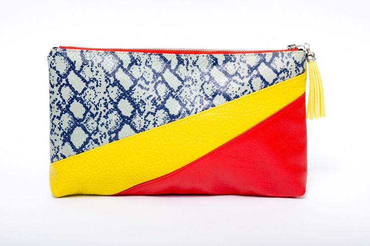 Evening bright yellow and red leather bag / chic snake printed leather clutch bag /leather pouche/ charm/fluorescent yellow purse /gift idea de la boutique VEINAGE sur Etsy