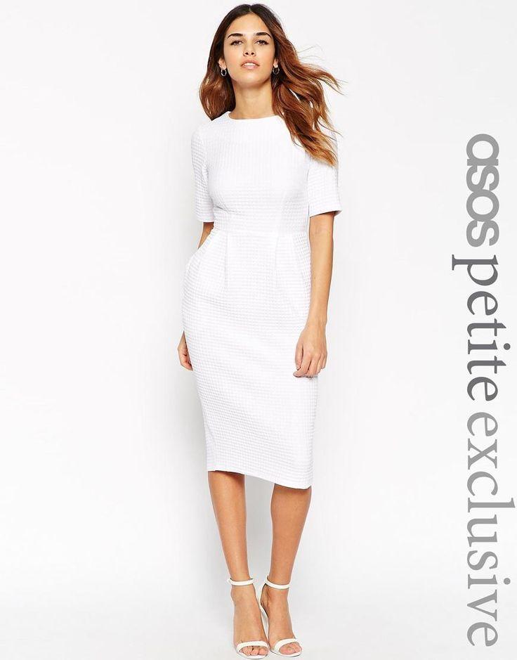 ASOS Petite | ASOS PETITE Textured Wiggle Dress in White at ASOS