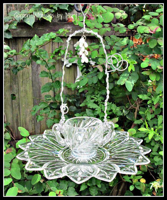Vintage Glassware Bird Feeder Garden by GardenWhimsiesByMary, $30.00