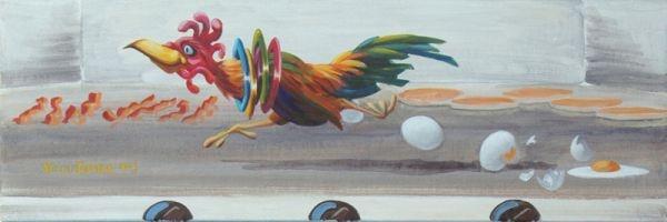 """Breakfast on the Run  Acrylic on Canvas, 24""""x8"""" $600 Will Enns Art Studio, Summerland BC, Ca"""