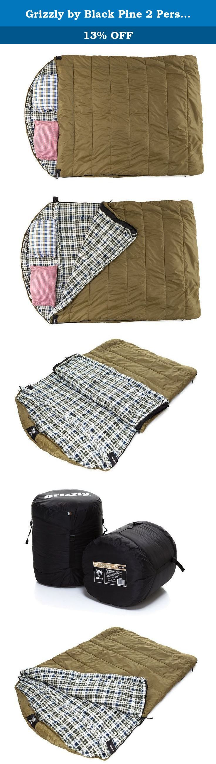 Grizzly by Black Pine 2 Person 0 Degree F Ripstop Sleeping Bag, Olive. For couples camping, the Grizzly 2 Person 0 ripstop sleeping bag shares the same superior insulation and comfort features you'll find in the Grizzly one-person version, but with a larger sleeping area to accommodate two adult sleepers. Don't be surprised if a child or the family dog wants to climb in with you -- it's that big. It also zips from both sides, so you won't have to wake your sleeping partner to exit in the...