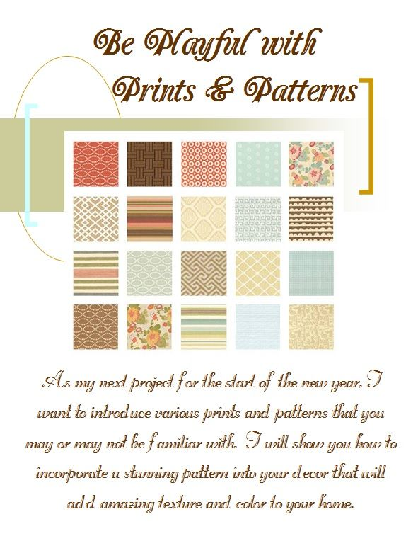 Will be discussing all the different types of prints and patterns used in design.