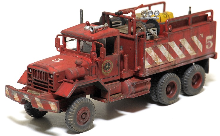 1/87 scale weathered 5 ton rural brush fire truck