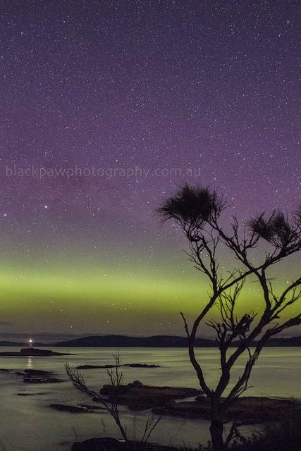 Aurora Australis - Iron Pot Lighthouse, Casuarina Sihlouette , Tasmania, Australia