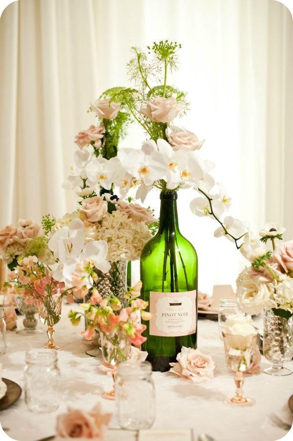 wine bottle centerpieces for wedding engaged now what photo shoots archives engagednowwhat. Black Bedroom Furniture Sets. Home Design Ideas