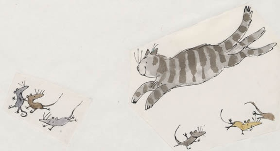 The cat pretending to chase mice from Mouse Trouble by Quentin Blake