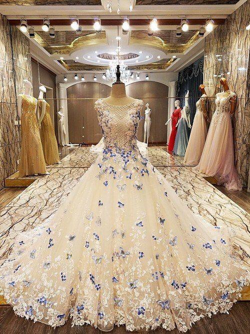 Eine Linie elegante Party Abendkleider lang mit Schmetterlingsspitze Brautkleid ...