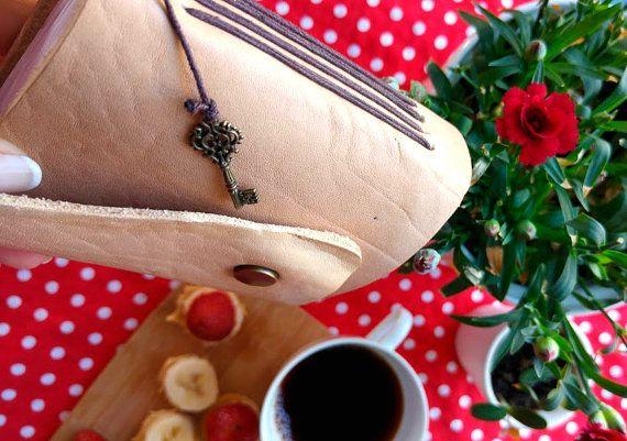 Mini beige leather journal by B2handmadedesign on Etsy