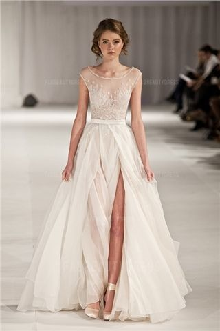 A-Line/Princess Scoop Floor-length Chiffon Evening Dress