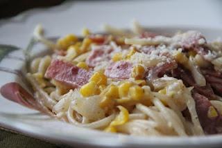 CORN. Pasta, bacon, onion, garlic, whole corn, cream corn, parmesan ...