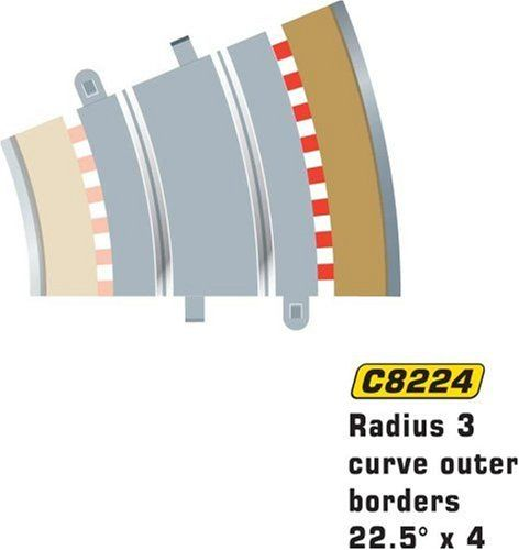 #PopularKidsToys Just Added In New Toys In Store!Read The Full Description & Reviews Here - Scalextric C8224 Radius 3 Outer Border/Barrier 22.5 degree 1:32 Scale Accessory - Pack Contains: Radius 3 Curve Outer Borders 22.5 degree x 4. Shown with Shown with C8204 Radius 3 Curve 22.5¡ and C8224 Radius 3 Curve Outer Borders 22.5¡ (not included). Packaged Length in mm – 200 Weight In Kg – 0.4 Packaged Width in mm – 200 Packaged Height in mm – 100 Shown w
