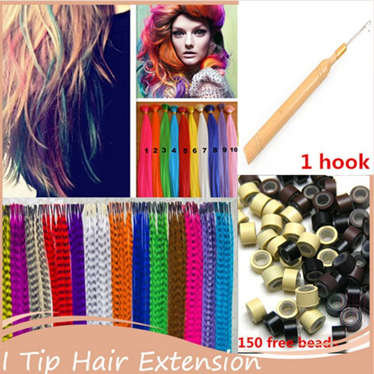 16''40cm Women Long Straight Grizzly Micro Loop Ring Feather I Tip Hair Extensions Hairpiece Grizzly Mixed Colors Feather Hair