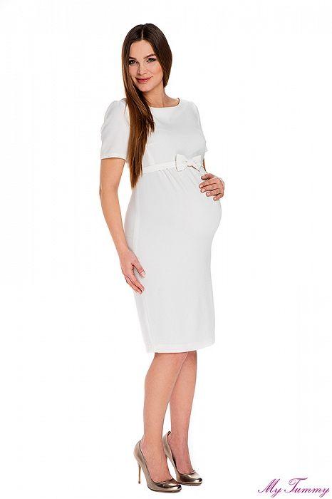 """Těhotenské šaty """"Bella"""" bílé - My Tummy - Luxusní, elegantní a praktické oblečení pro těhotné a kojící ženy"""
