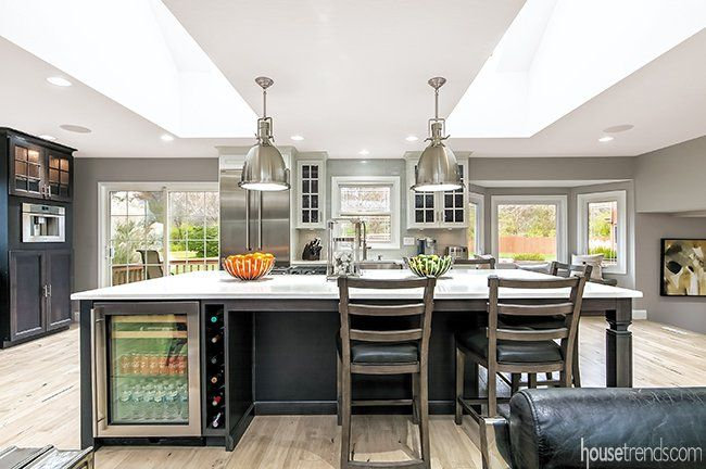 Westerville Renovation Removes Existing Walls To Create Open Floor Plan Kitchen Remodel Stunning Kitchens Bars For Home