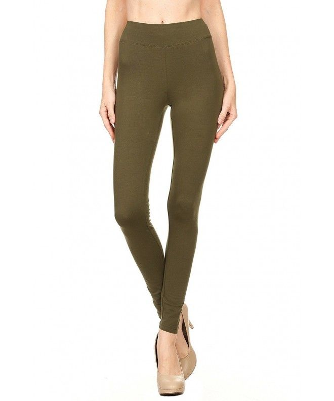 fd6fdaae023 Color 5 Women s Cotton Spandex Basic Full Length Legging - Olive -  CQ188OMWKGZ