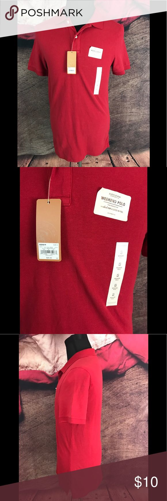 Sonoma Weekend Polo Perfect Fit Red Cotton Polo S Pre-Owned in Sonoma Men's Weekend Polo Perfect Fit Red Cotton Polo Shirt Size Small 15   Size: Small