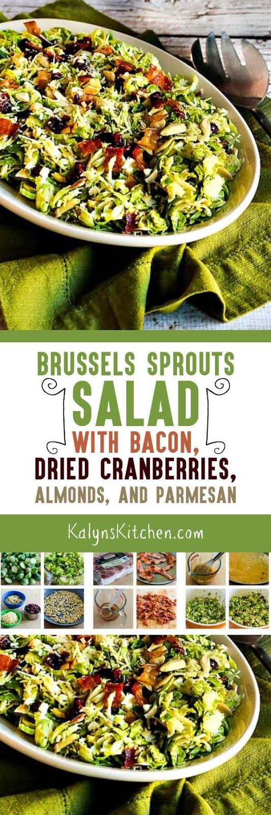 This Brussels Sprouts Salad with Bacon, Dried Cranberries, Almonds, and Parmesan may have some higher-calorie ingredients, but there's a lot of healthy brussels sprouts in this delicious salad! [found on KalynsKitchen.com]
