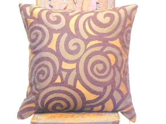 Brown spiral throw pillow sham  18x18 16x16 pillow by SABDECO