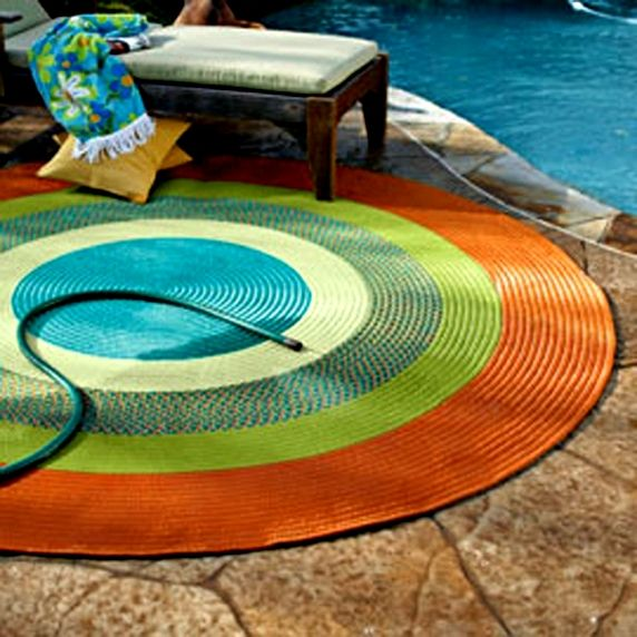Braided Colorful Round Outdoor Rug Patio Rugs Lowes