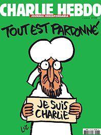"""Forsiden av Charlie Hebdo-utgaven 14. januar 2015. Tegning av profeten Muhammed som holder opp en """"Je suis Charlie""""-plakat. Foto: AFP / HO /CHARLIE HEBDO"""
