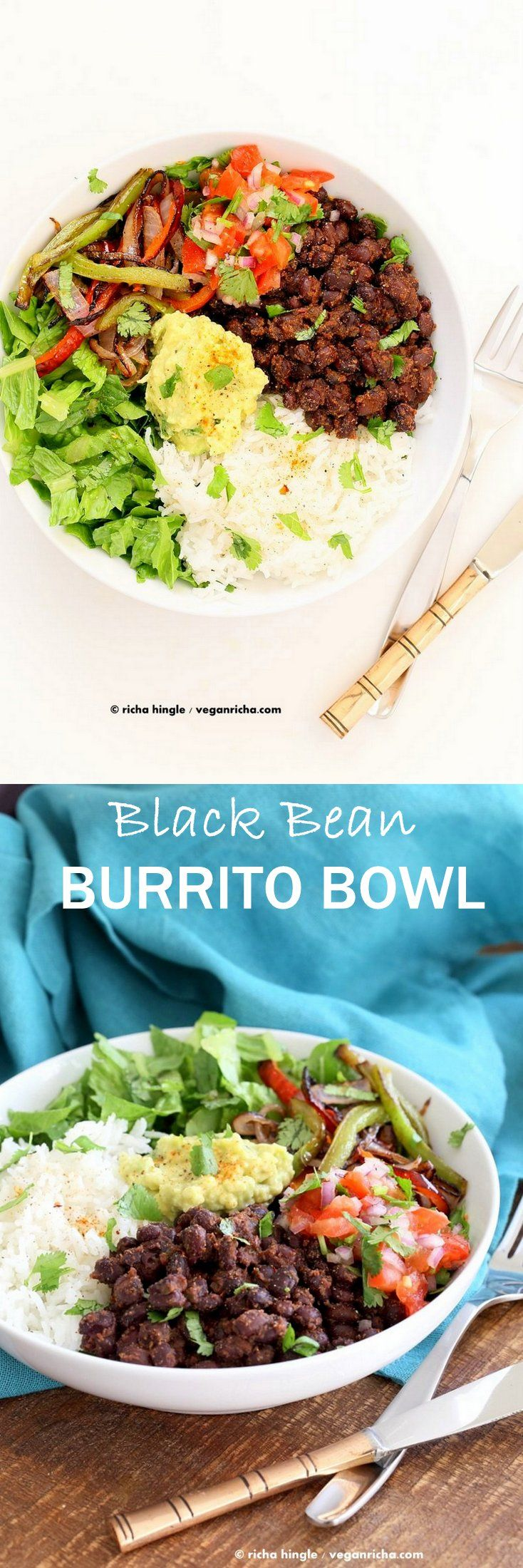 Easy Black Bean Burrito Bowl. Spicy black beans, roasted peppers and veggies, zesty guacamole, pico de gallo, fresh lettuce. DIY Burrito Bowl Chipotle style.