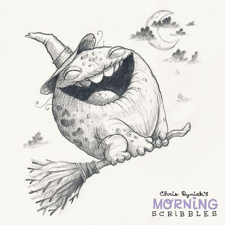 Which critter? WITCH critter! #morningscribbles #halloween #october ☁️