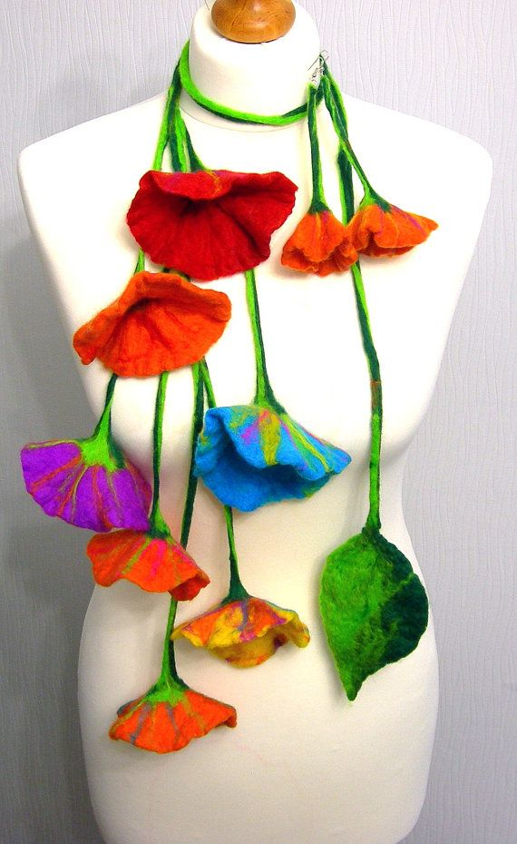 felted Flower, Hand Felted, Wool Jewelry felted scarf/ necklace/BELT and earrings on Etsy, $19.99